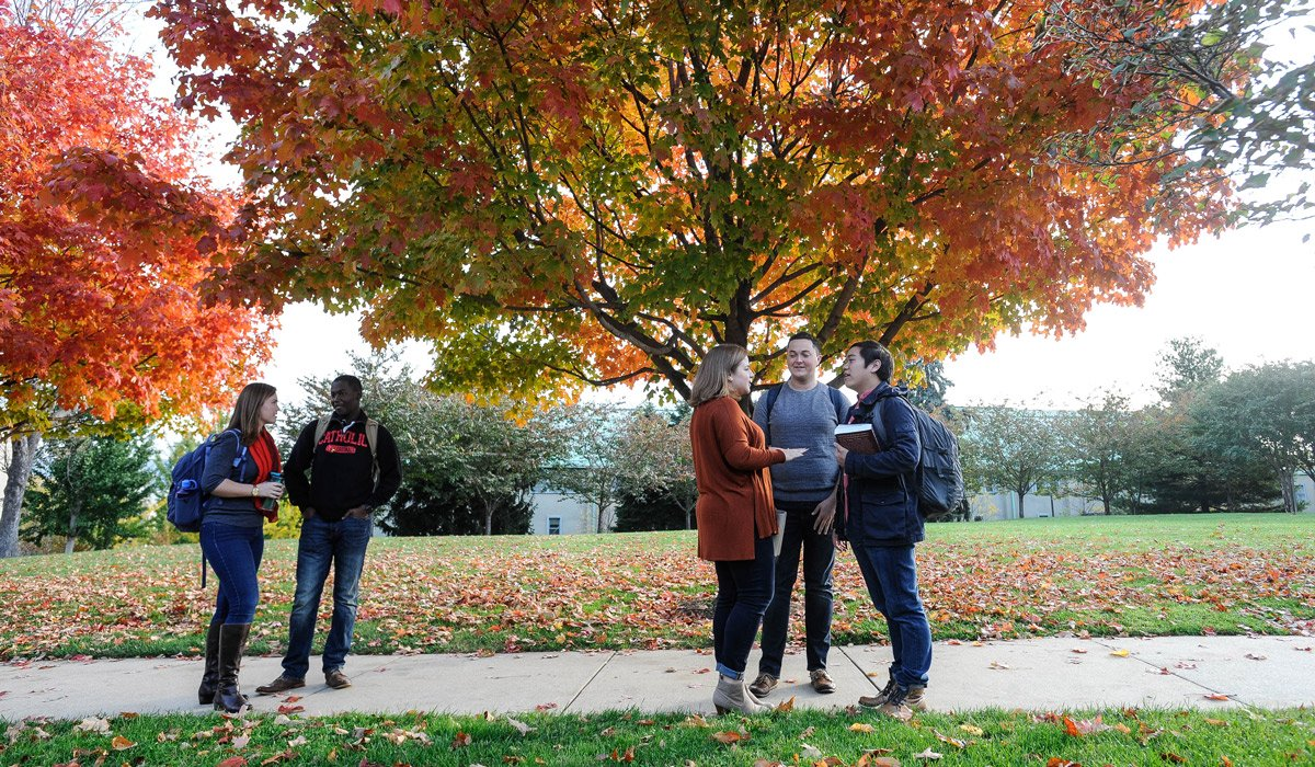 Students on campus in fall